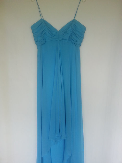Dessy 2883 Turquoise dip hem evening / bridesmaid dress Uk 16