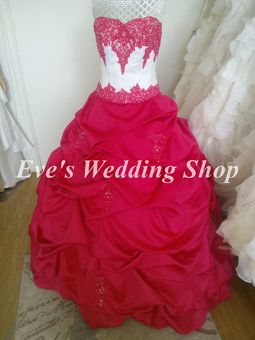 Forever yours cotton candy/white color wedding/prom dress US8 - UK 10-12