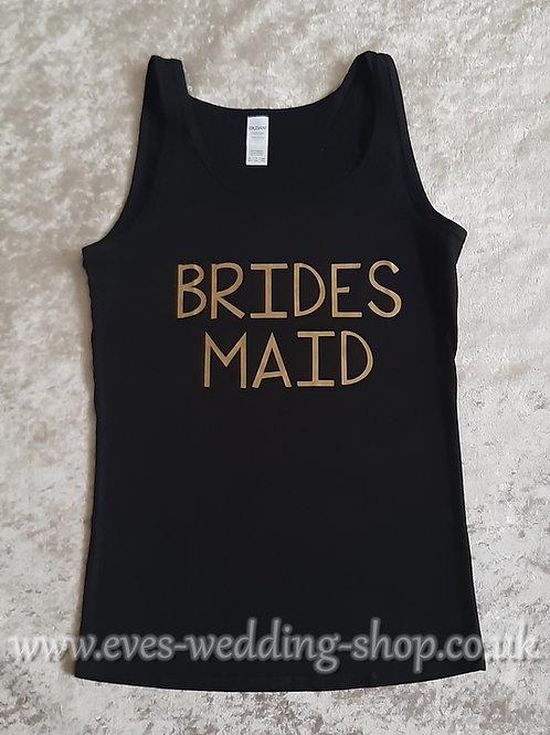 ''Bridesmaid'' black cotton vest