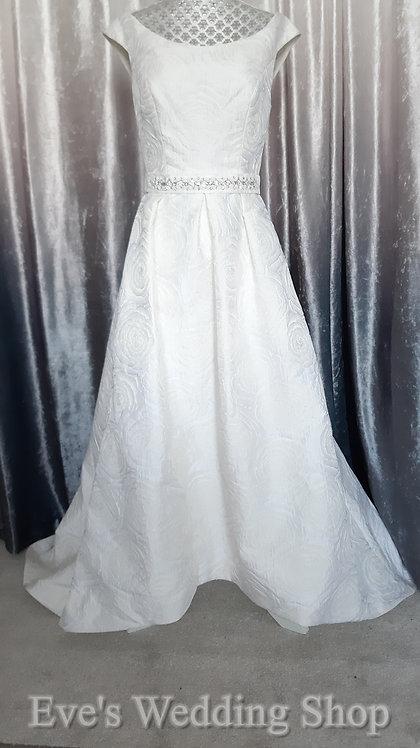 Dessy After six ivory / cream tea length rose brocade wedding dress UK 6