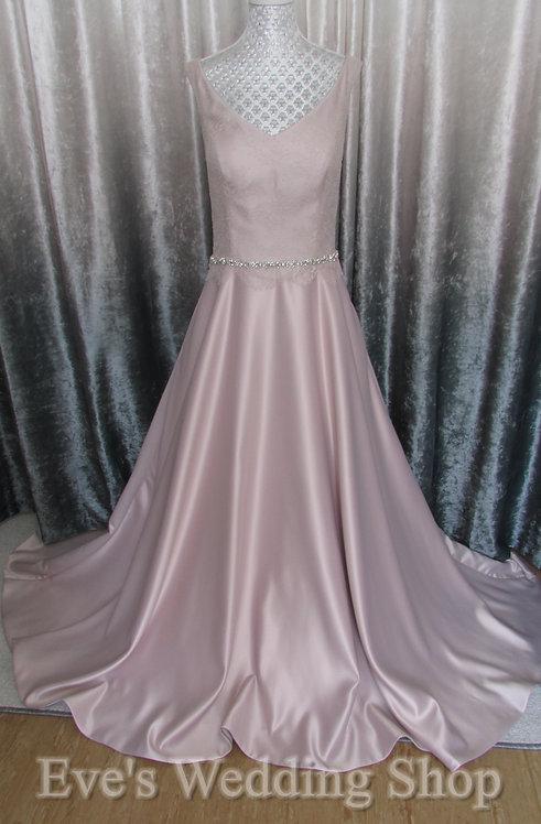 Pure bridal dusky pink V-neck wedding dress UK 12/14