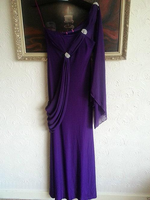 PURPLE GRECIAN STYLE BRIDESMAID DRESS SIZE 12