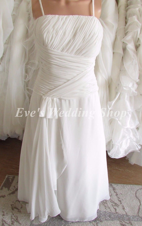 Ex sample Hilary Morgan chiffon  ivory wedding dress UK size 14