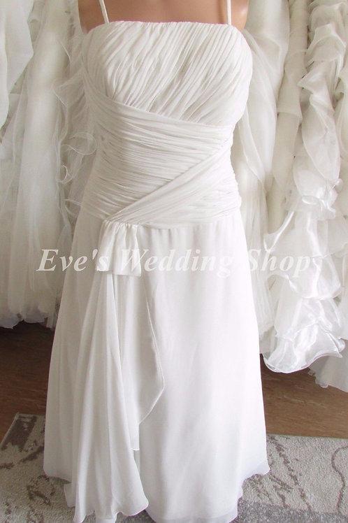 Ex sample Hilary Morgan chiffon  ivory wedding dress UK size 14