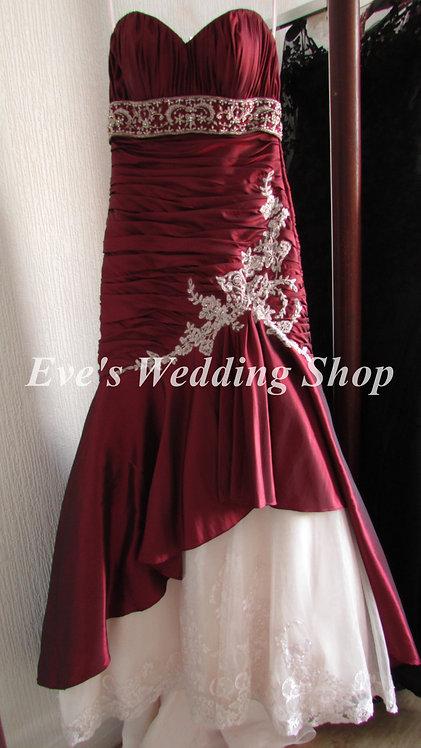 Alexia Couture  burgundy/pink wedding dress UK size 10/12