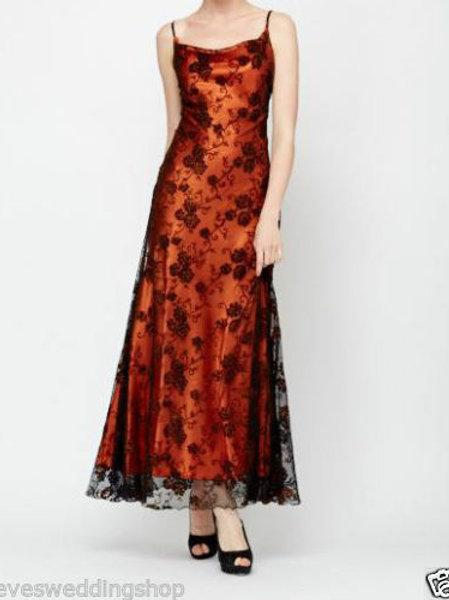 ORANGE  GLITTER FLOWER MESH  DRESS UK 12