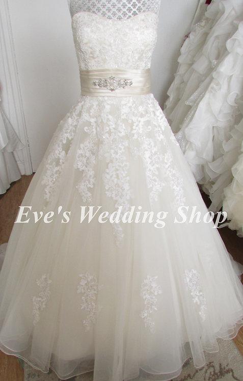 Eternity Bride Art Couture ivory champagne wedding dress UK 12/14
