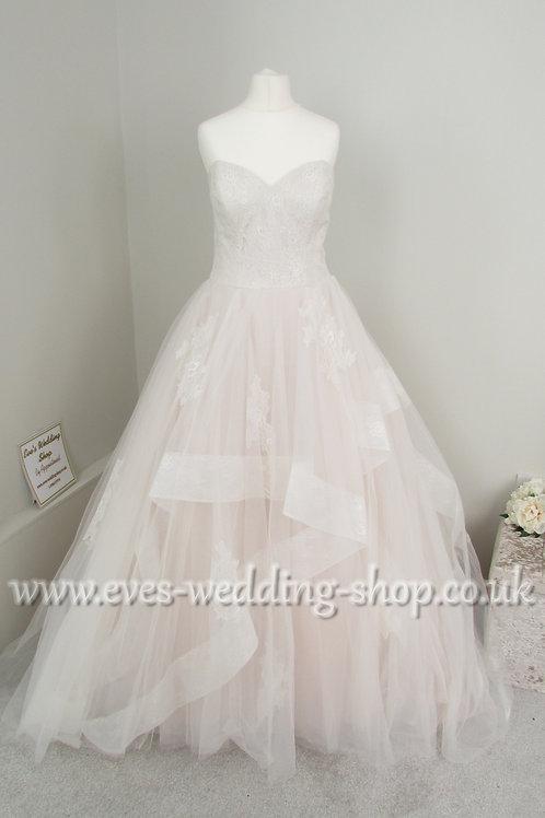 Justin Alexander Sand/pink/ ivory wedding dress UK 10