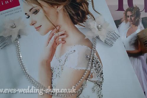 Richard Designs dark ivory wedding hair accessories