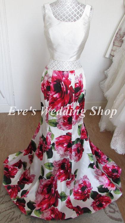 Ivory floral 2 pc ''blush'' Alexia designs prom dresss UK 8