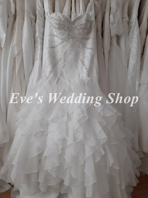 Ivory one strap ruffled wedding dress UK 14/16