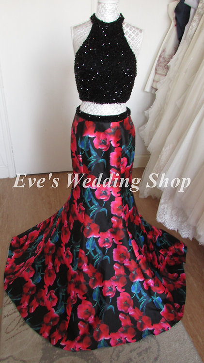 Black floral 2 pc ''blush'' Alexia designs prom dresss UK 8