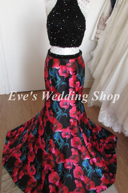 Black floral 2 pc ''blush'' Alexia designs prom dresss UK 8