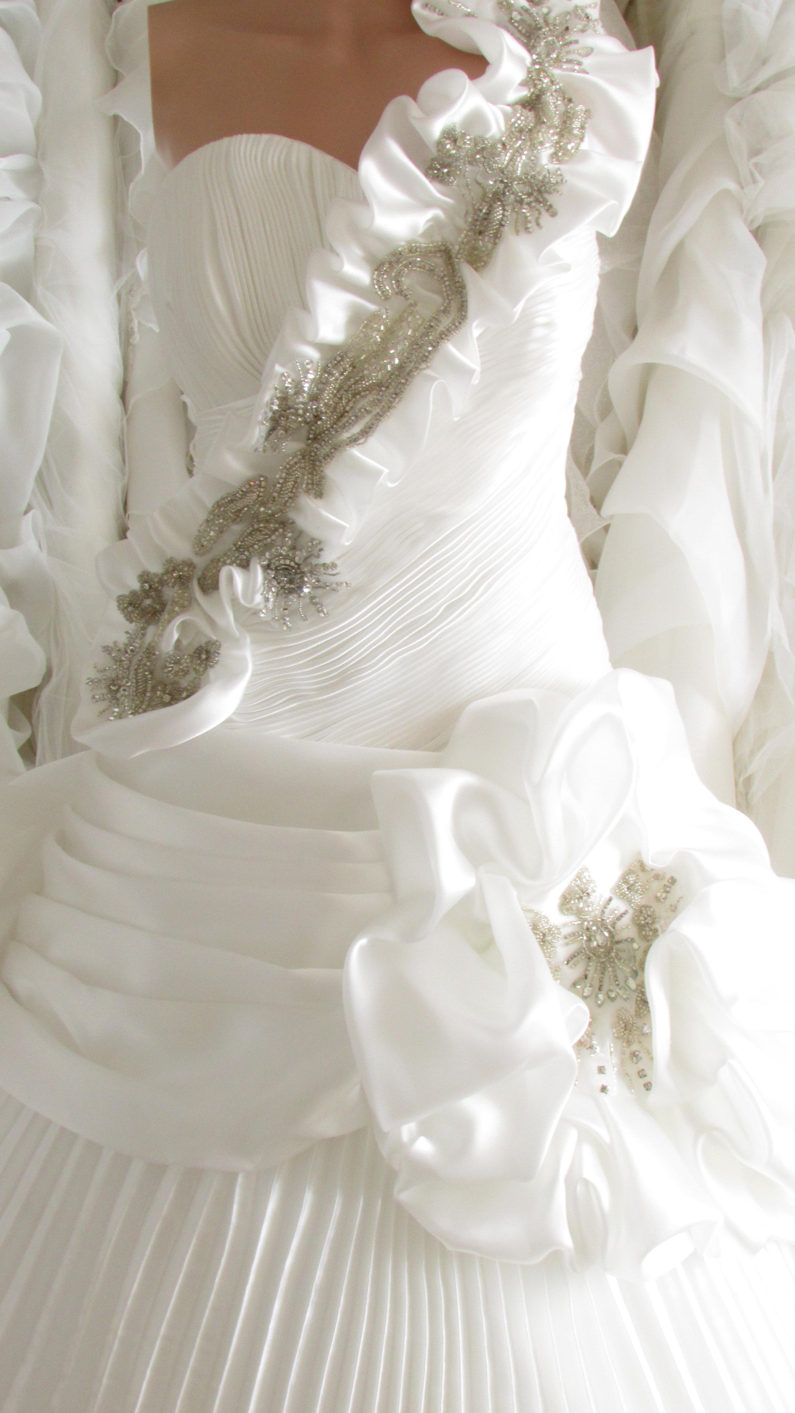 White Beaded Ruffled Wedding Dress Uk