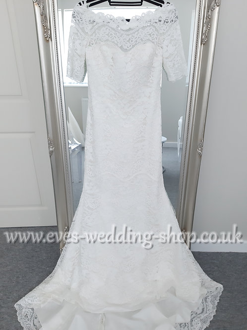 Millie May Bridal ''MM013'' lace wedding dress with 3/4 sleeves UK 14