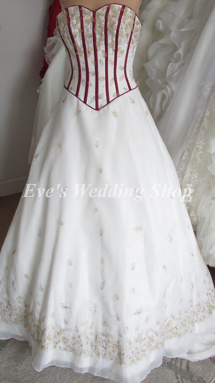 ALYCE DESIGN IVORY/BURGUNDY WEDDING/PROM DRESS 4