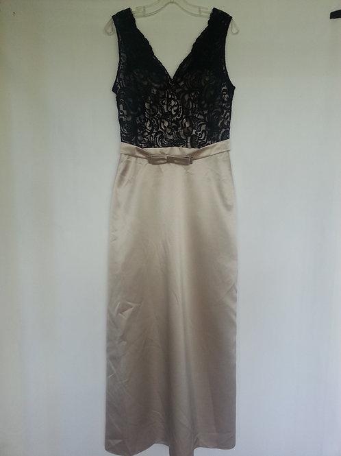 Dessy 6675 palomino / black color evening / bridesmaid dress UK 10