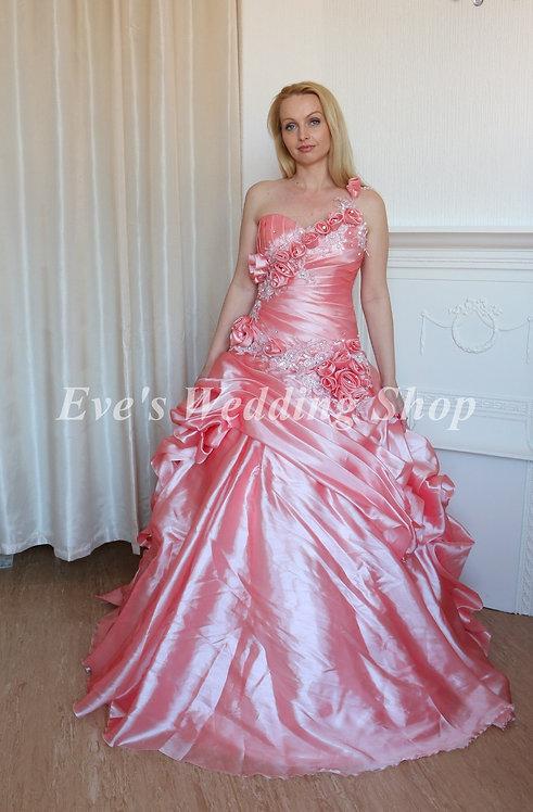 PINK ONE STRAP BEADED RUFFLED WEDDING DRESS 12