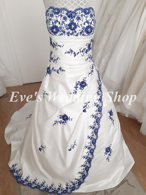 Julian & Adam ivory / peacock wedding dress UK size 16