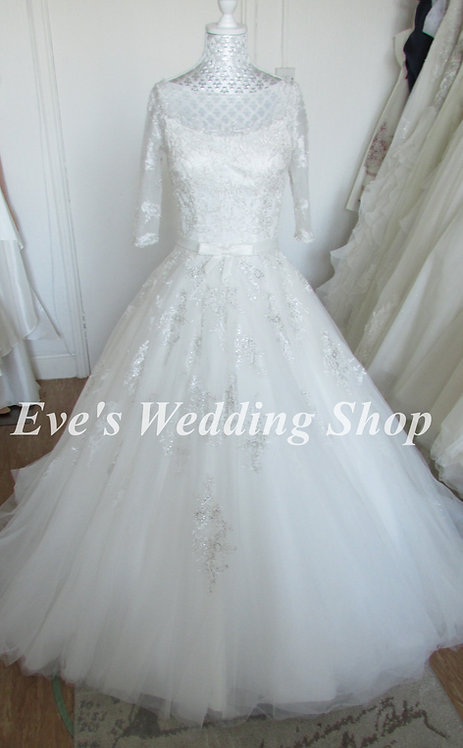 Alexia designs ivory wedding dress with sleeves Uk 6/8