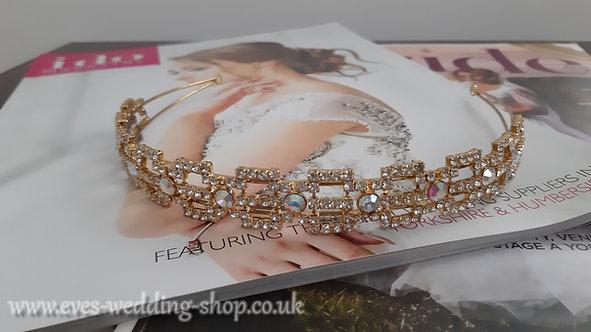 Swarovski gold color prom wedding tiara