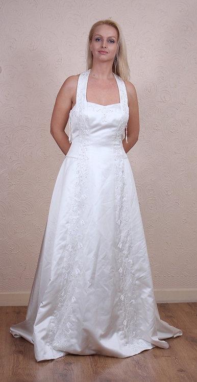 HALTERNECK A-LINE WEDDING DRESS UK SIZE 12