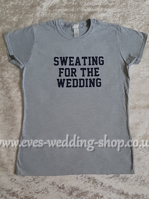''Sweating for the wedding'' grey cotton T-shirt