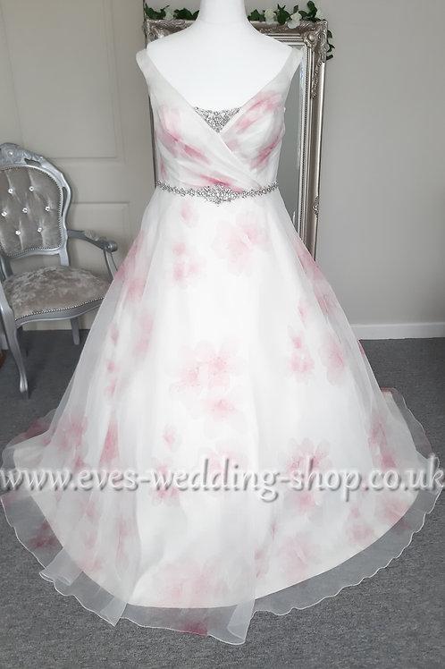 Sonsie ivory/pink floral wedding dress UK 20