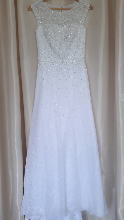 White beaded wedding dress UK 8/10