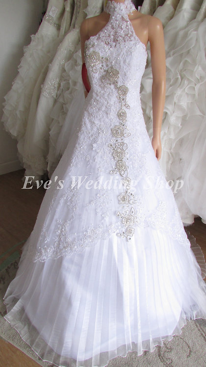 COLLAR NECK PRINCESS WHITE LACE WEDDING DRESS 10