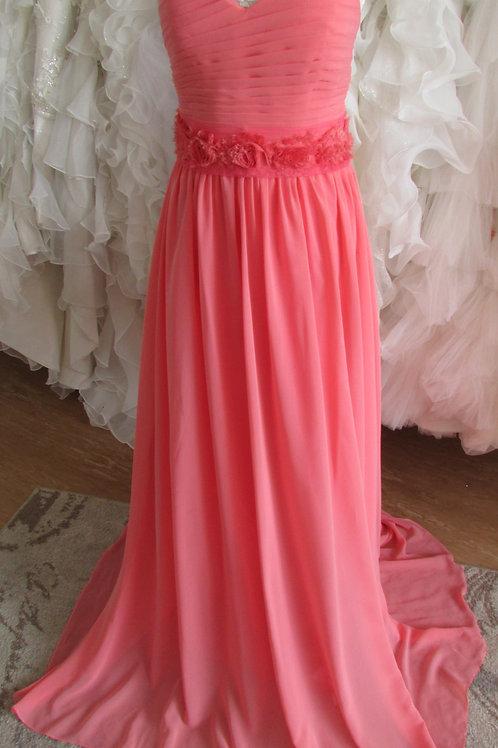 SALMON CHIFFON BRIDESMAID/EVENING DRESS SIZE 12