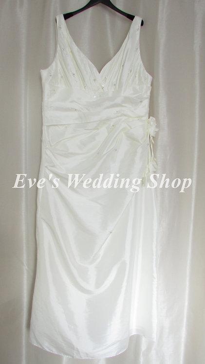 Hilary Morgan taffeta ivory simple wedding dress UK 26/28