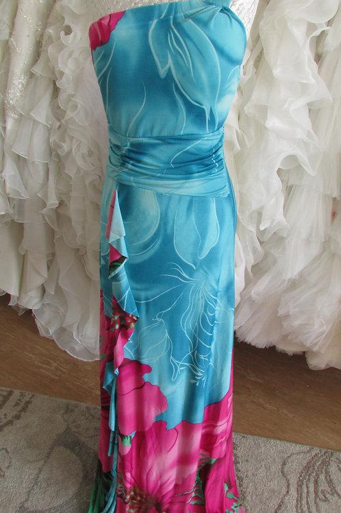 Blue oriental look summer bridesmaid dress 8 or 12