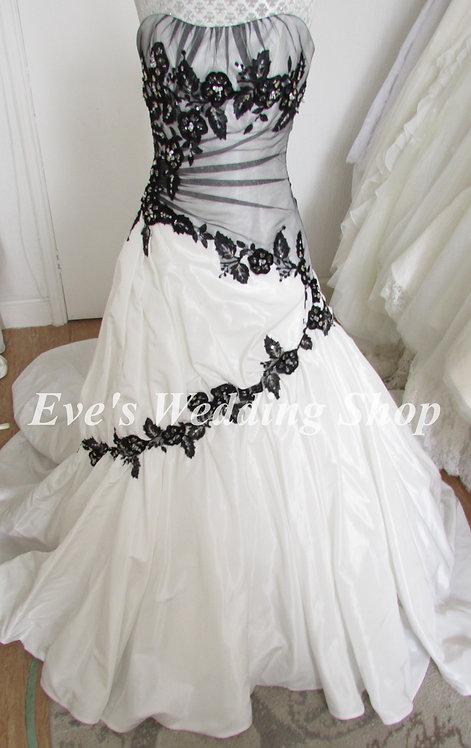Sophia Tolli white / black wedding dress Uk 6/8