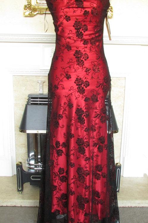 RED GLITTER FLOWER MESH EVENING DRESS 8