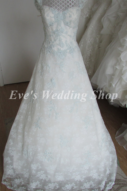 Veromia Ivory/blue lace wedding dress with straps UK 10/12