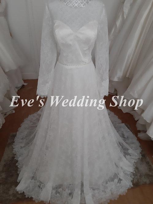 Boho lace wedding dress with sleeves UK 14/16