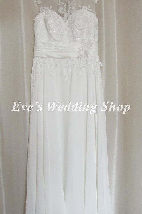 Alfred Angelo ivory chiffon beach wedding dress UK 18/20