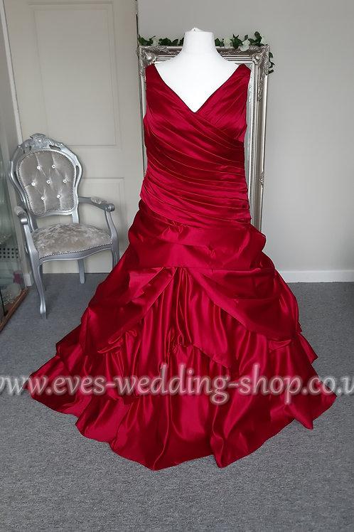Callista  style 4167 V-Neck red wedding dress UK 24