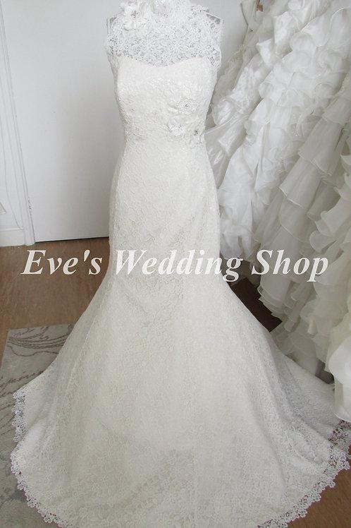 Beautiful high neck Nicola Anne crochet lace wedding dress UK 12/14