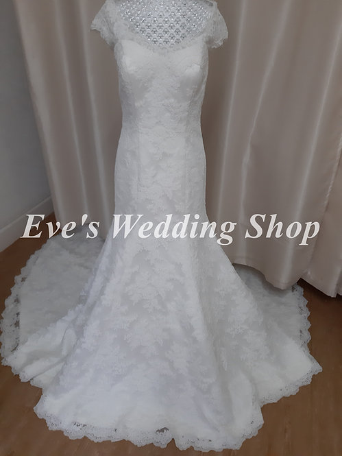Ivory lace wedding dress UK 12/14