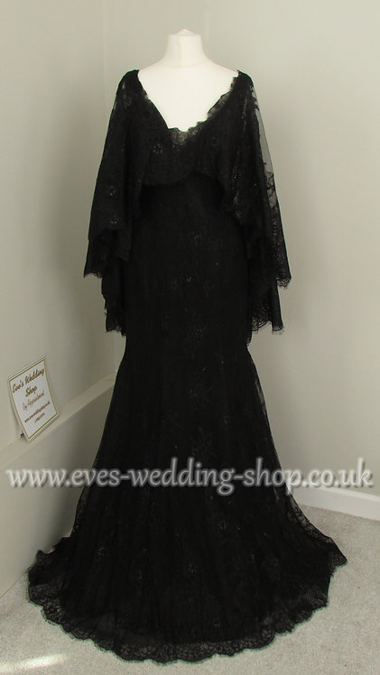 Ronald Joyce black wedding dress with detachable cape approx UK 8