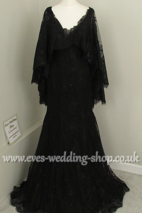Ronald Joyce black wedding dress with detachable cape approx UK 8