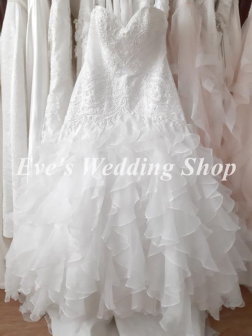 Aspire ivory  ruffled wedding dress UK 14/16