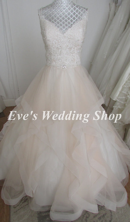 Beautiful bridal pink / ivory  handkerchief style wedding dress UK 14/16