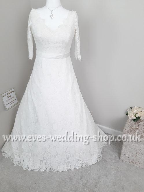 Millie May off the shoulder ivory lace wedding dress UK 14/16