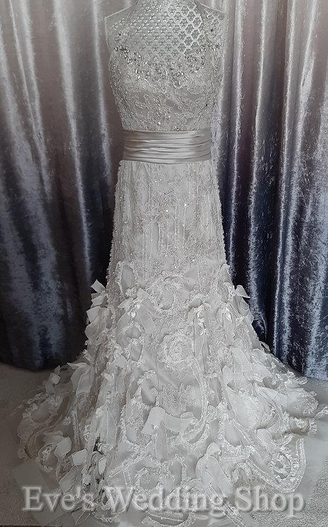 Justin Alexander oyster silver wedding dress US 8, UK 10