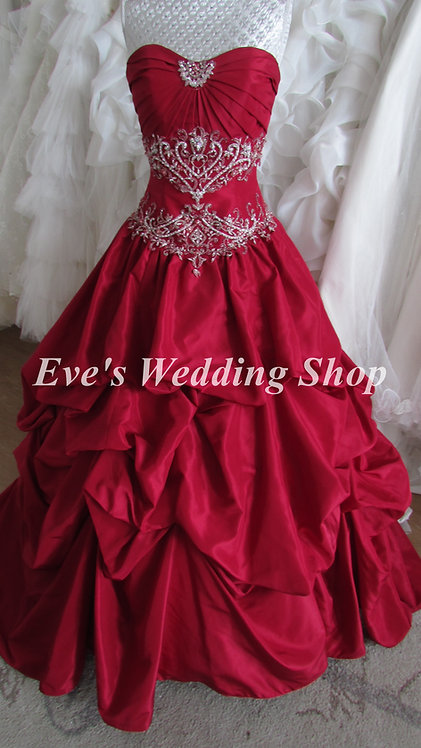 Ruby color wedding dress