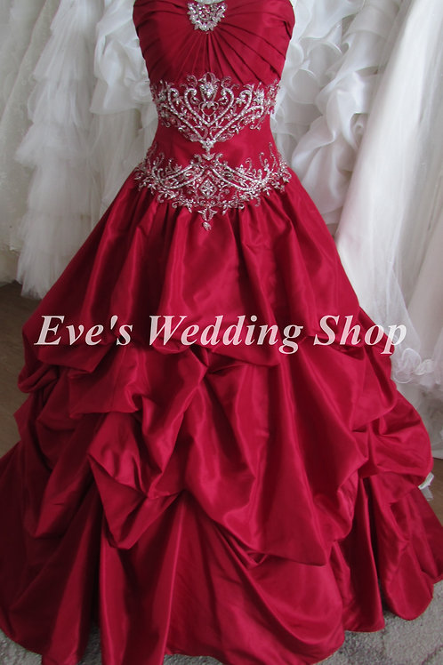 Ruby color wedding dress