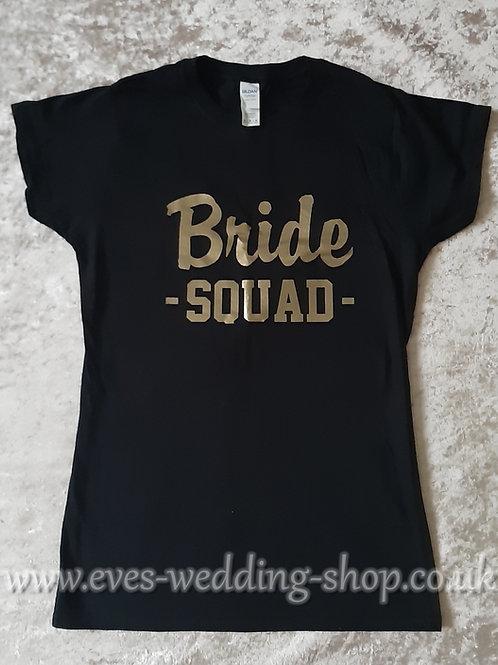''Bride SQUAD'' black cotton T-shirt